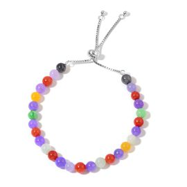 Multi Colour Rare Jade Adjustable Bracelet (Size 6 to 9) in Rhodium Plated Sterling Silver 55.000 Ct.
