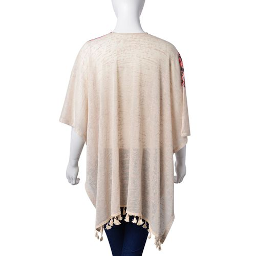 Multi Colour Zigzag Pattern Off White Colour Poncho with Tassels (Size 80X70 Cm)
