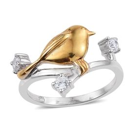 J Francis - Platinum and Yellow Gold Overlay Sterling Silver (Rnd) Bird on Branch Ring Made with SWAROVSKI ZIRCONIA
