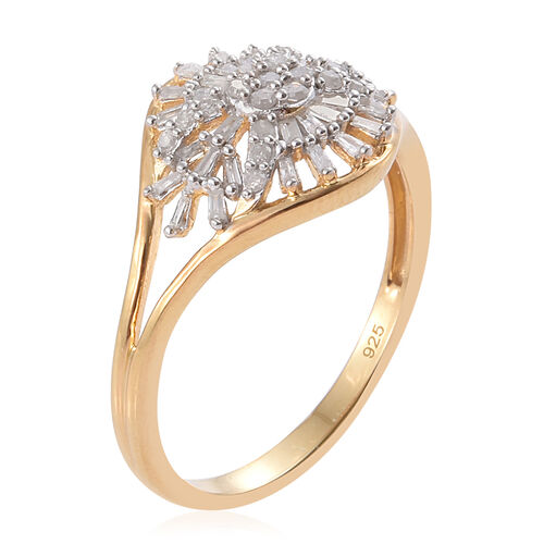 Diamond 14K Gold Overlay Sterling Silver Ring  0.500  Ct.