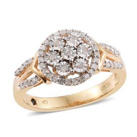 GP Diamond Dream (Rnd), Kanchanaburi Blue Sapphire Ring in 14K Gold Overlay Sterling Silver 0.350 Ct.