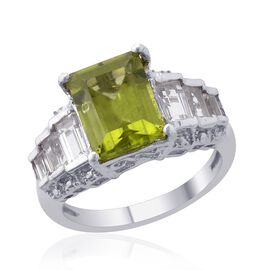 Hebei Peridot (Oct 2.25 Ct) White Topaz Ring in Platinum Overlay Sterling Silver 3.000 Ct.