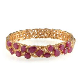 African Ruby (Ovl) Bangle in 14K Gold Overlay Sterling Silver (Size 7.5) 13.250 Ct.