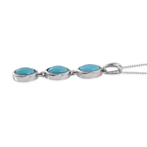 Sonoran Turquoise (Ovl) Trilogy Pendant With Chain in Platinum Overlay Sterling Silver 3.000 Ct.