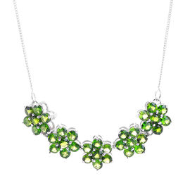 Russian Diopside (Rnd) Floral Necklace (Size 18) in Sterling Silver 5.240 Ct.