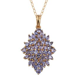 Tanzanite (Mrq) Cluster Pendant With Chain in 14K Gold Overlay Sterling Silver 3.500 Ct.
