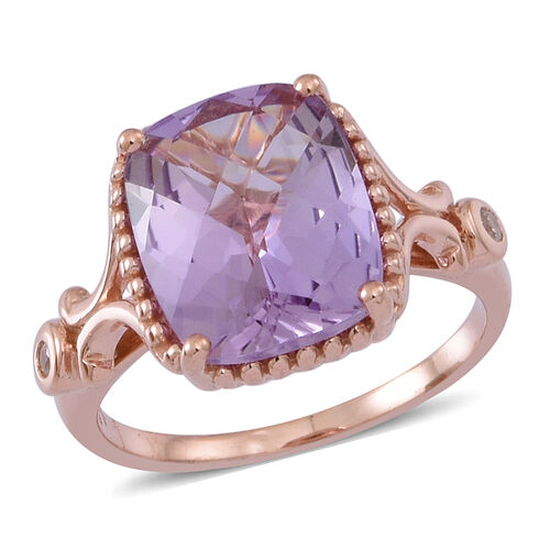 Rose De France Amethyst (Cush 4.42 Ct), Natural Cambodian White Zircon Ring in 14K Rose Gold Overly Sterling Silver 4.500 Ct.