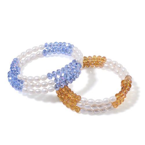 Set of 2 - Fresh Water White Pearl, Simulated Champagne Diamond and Simulated Tanzanite Bracelet (Size 7.50)