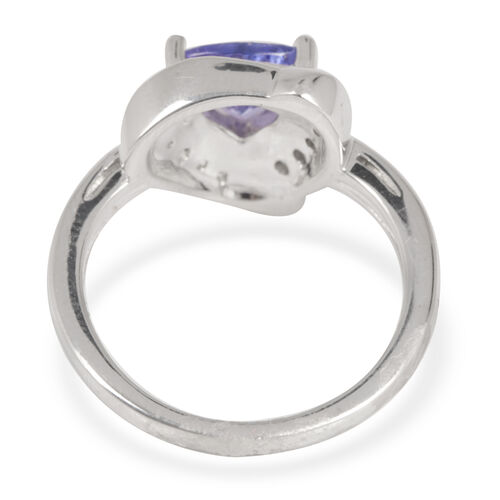 Close Out Deal 14K W Gold AA Tanzanite (Trl 1.00 Ct), Diamond (I2/G-H) Ring 1.200 Ct.