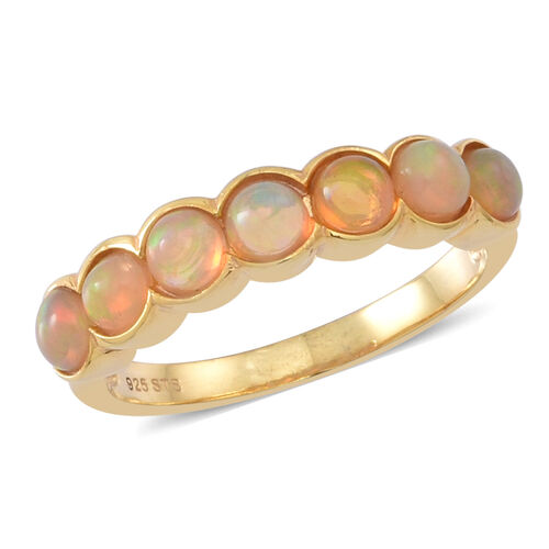Ethiopian Opal (Rnd) 7 Stone Ring in 14K Gold Overlay Sterling Silver 1.250 Ct.