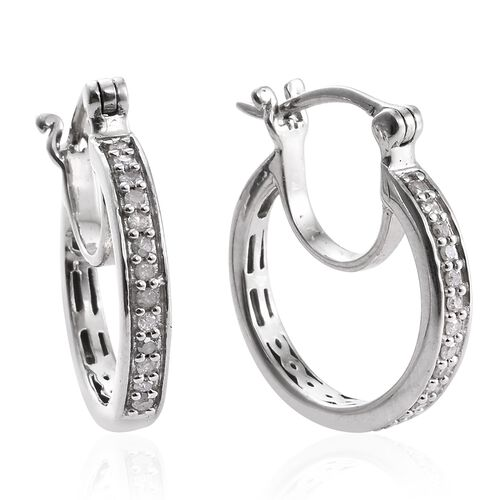 Diamond 0.25 Carat Silver Hoop Earrings in Platinum Overlay (with Clasp)