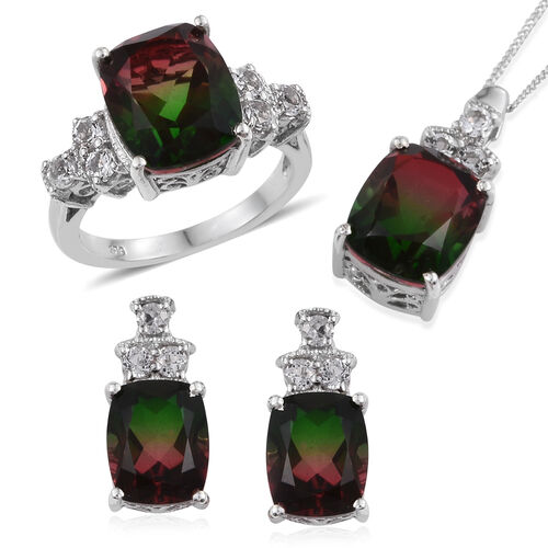Bi-Color Tourmaline Quartz (Cush), White Topaz Ring, Pendant With Chain and Stud Earrings in Platinum Overlay Sterling Silver 22.250 Ct.