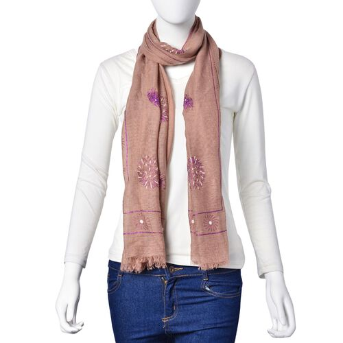 Designer Inspired- Fire Work Pattern Chocolate Colour Scarf (Size 180x70 Cm)