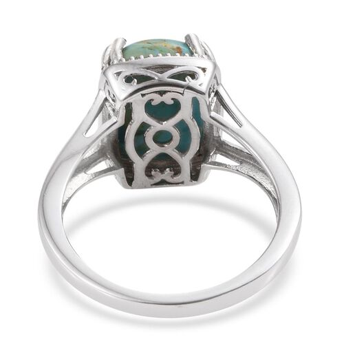 Arizona Matrix Turquoise (Cush) Solitaire Ring in Platinum Overlay Sterling Silver 5.250 Ct.