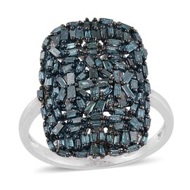 Designer Inspired- Fireworks Blue Diamond (Bgt) Cluster Ring in Platinum Overlay Sterling Silver 1.000 Ct.