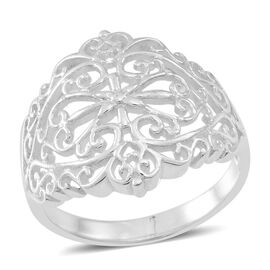 Thai Rhodium Plated Sterling Silver Filigree Band Ring, Silver wt 4.20 Gms.