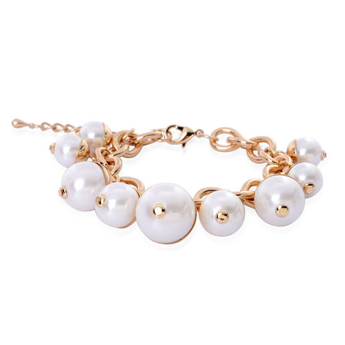 Resin Pearl Curb Link Charm Bracelet (Size 7.5) In Gold Tone