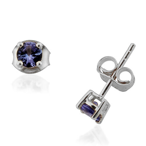 Round  AA Tanzanite 9K W Gold Earring  0.47  Ct.