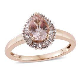 9K Yellow Gold 1 Carat Marropino Morganite Halo Ring with Diamond