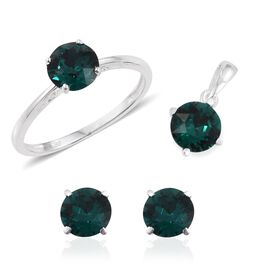 J Francis Crystal from Swarovski - Emerald Colour Crystal (Rnd) Solitaire Ring, Pendant and Stud Earrings (with Push Back) in Sterling Silver