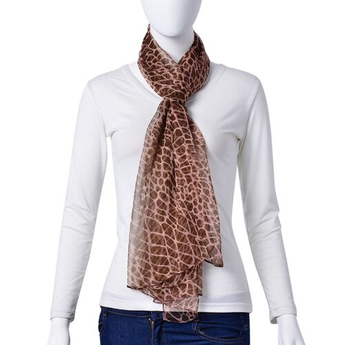 100% Mulberry Silk Chocolate and Peach Colour Printed Scarf (Size 180X50 Cm)