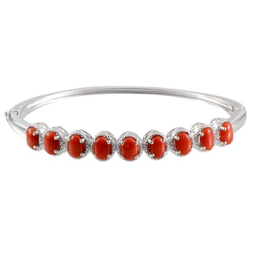 Natural Mediterranean Coral (Ovl) Bangle in Platinum Overlay Sterling Silver (Size 7.5) 5.500 Ct.