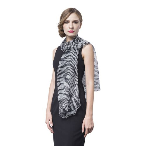 40% Mulberry Silk Black and White Colour Zebra and Leopard Pattern Scarf (Size 170X105 Cm)