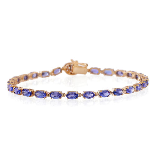 9K Y Gold AA Tanzanite (Ovl), Natural Cambodian White Zircon Tennis Bracelet (Size 7.5) 6.500 Ct.