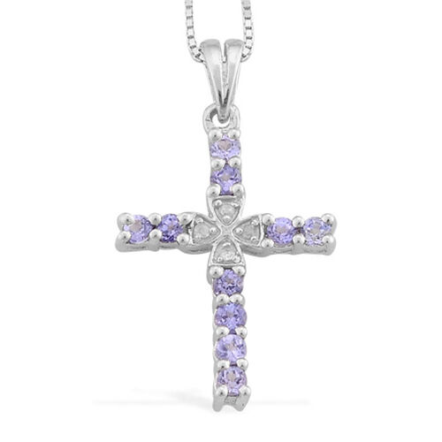 Tanzanite (0.50 Ct) and Diamond Pendant With Chain Set Platinum Overlay Sterling Silver