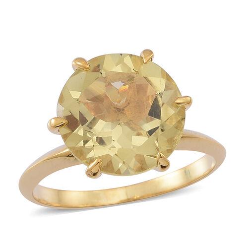 Lemon Quartz (Rnd) Solitaire Ring in 14K Gold Overlay Sterling Silver 5.500 Ct.