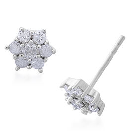 9K White Gold 0.50 Carat SGL Certified Diamond (I3/G-H) Floral Stud Earrings (with Push Back)