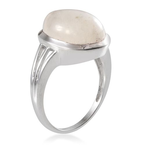 Ceylon Rainbow Moonstone (Pear) Solitaire Ring in Platinum Overlay Sterling Silver 8.750 Ct.
