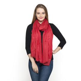 100% Fine Cashmere Wool - Hand Loomed Red Shawl (Size 200 x 70 Cm)