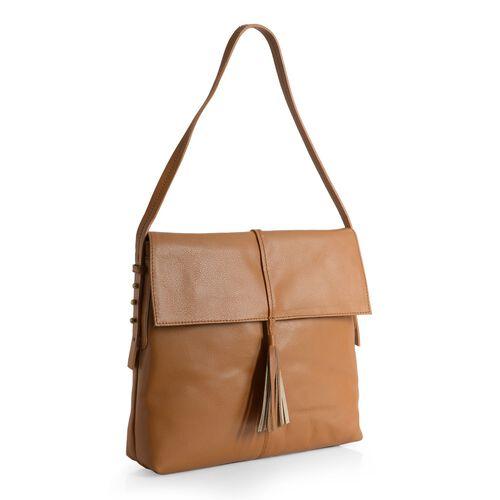 Genuine Leather Tan Colour Shoulder Bag with Shoulder Strap