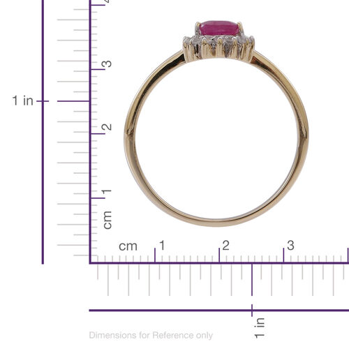 9K Y Gold Burmese Ruby (Pear 0.90 Ct), White Sapphire Ring 1.000 Ct.