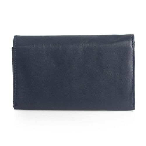 Genuine Leather RFID Blocker Blue Colour Ladies Purse (Size 15.5x8.5 Cm)