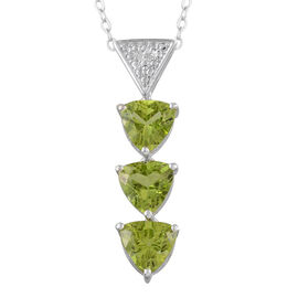Hebei Peridot (Trl), Diamond Pendant With Chain in Platinum Overlay Sterling Silver 4.010 Ct.
