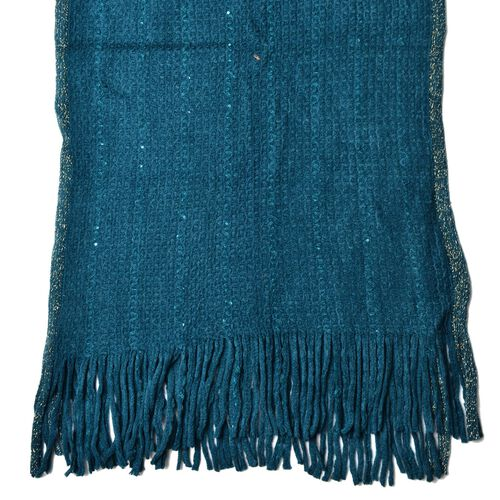Dark Peacock Colour Scarf with Sequins and Tassels (Size160x60 Cm)