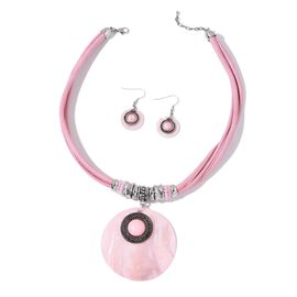 Pink Shell, Pink Howlite and Simulated Pink Diamond Necklace (Size 20 with 2 inch Extender) and Hook Earrings in Silver Tone with Stainless Steel
