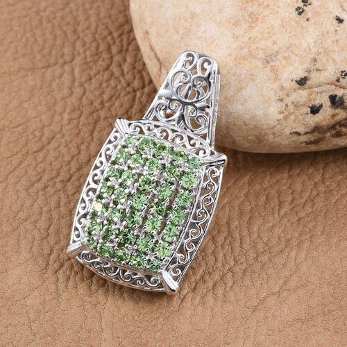 J Francis Crystal from Swarovski - Peridot Colour Crystal (Rnd) Pendant in ION Plated Platinum Bond