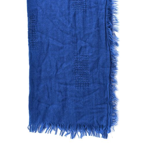 Weave Pattern Blue Colour Scarf with Fringes (Size 210x70 Cm)