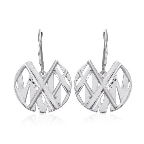 Platinum Overlay Sterling Silver Roman Number Inspired Lever Back Earrings, Silver wt 6.94 Gms.
