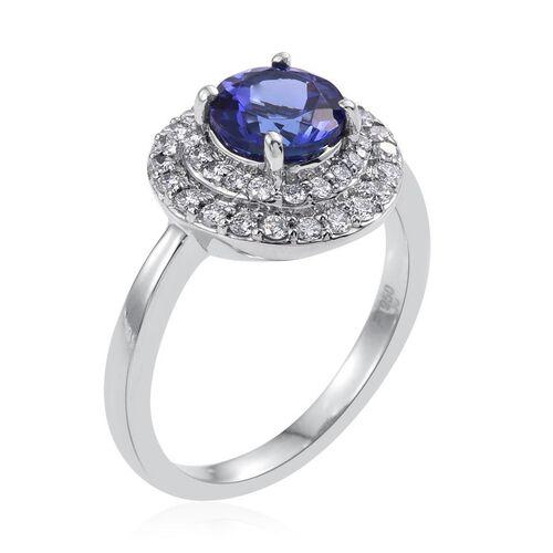 RHAPSODY 950 Platinum 2 Carat AAAA Tanzanite And Diamond (VVS/E-F) Ring