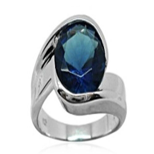 ELANZA AAA Simulated Blue Sapphire (Rnd) Solitaire Ring in Rhodium Plated Sterling Silver