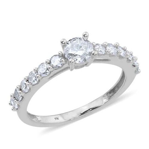 9K White Gold SGL Certified Diamond (Rnd) (I3/G-H) Ring 1.000 Ct.