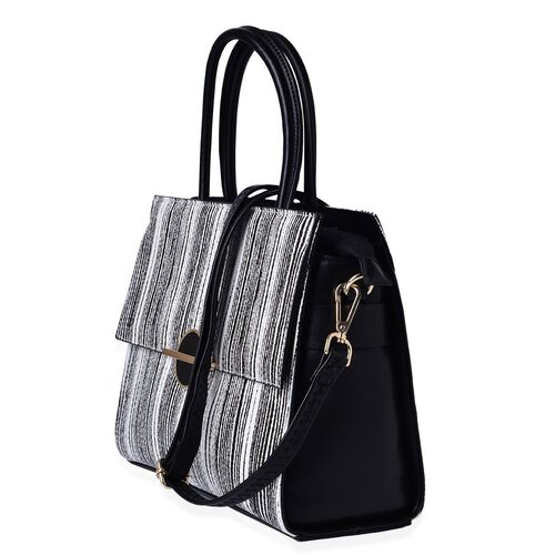 MANHATTAN COLLECTION Harlem Stripe Pattern Tote Bag with Adjustable and Removable Shoulder Strap (Size 30x23.5x12.5 Cm)