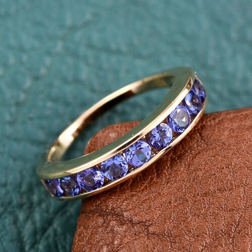 ILIANA 18K Y Gold AAA Tanzanite (Rnd) Half Eternity Band Ring 1.250 Ct.