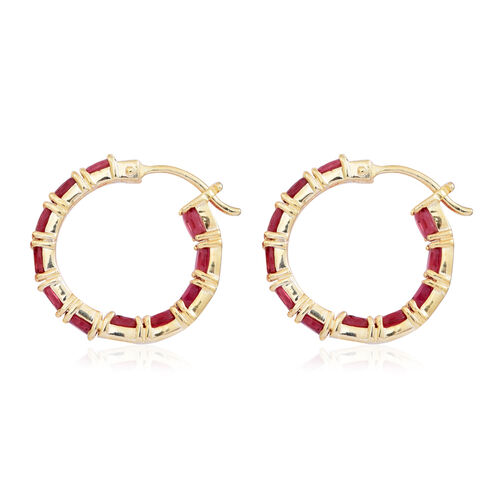 African Ruby (Ovl) Hoop Earrings (with Clasp) in Yellow Gold Overlay Sterling Silver 6.500 Ct.