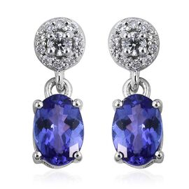 ILIANA 18K White Gold 1.25 Carat AAA Tanzanite Oval Drop Earrings with Diamond SI G-H with Screw Back.