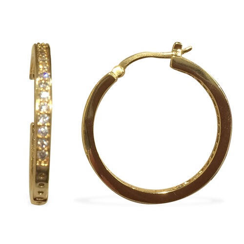Close Out Deal AAA Simulated Diamond (Rnd) Hoop Earrings (with Clasp) in Gold Tone